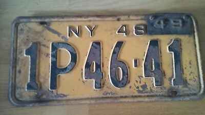 Vintage 1948 New York State License Plate with 1949 Registration Tag~1P46-41