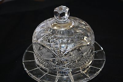 Round Crystal Butter Dish With Dome Beautiful!