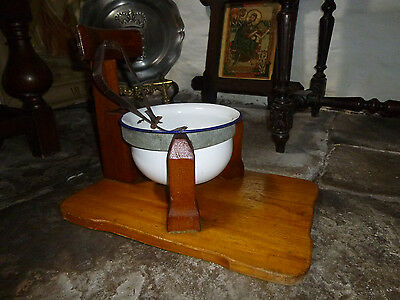 Dutch CHILD'S POTTY / Chamber Pot - WOOD, ENAMEL, STRAP Toilet Nursery Planter