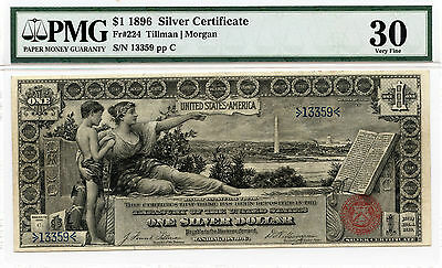 1896 $1 Educational Silver Certificate Fr. 224 ( Lower Serial # ) - PMG VF30 -