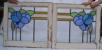 English joining leaded light stained glass window pair. R580a. DELIVERY OPTIONS!