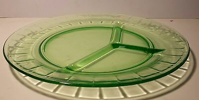 Vintage Green Uranium Vaseline Depression Glass Divided Dinner Plate