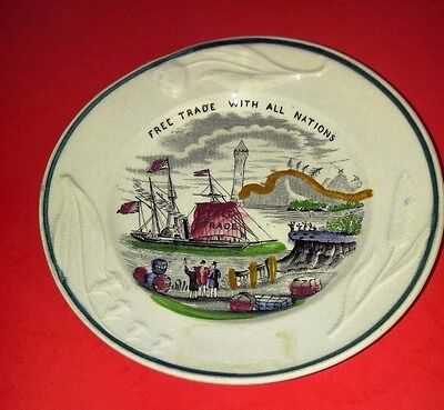 """J. & G. Meakin 5.5-inch transferware plate - """"Free Trade With All Nations"""" -MINT"""