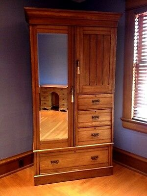 Antique Arts and Crafts English Pine Armoire  c. 1920's