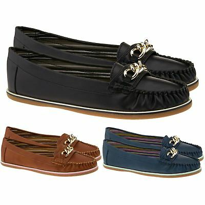 New Ladies Casual Loafers Womens Slip On Comfort Work Pumps Flat Shoes Size 3-8
