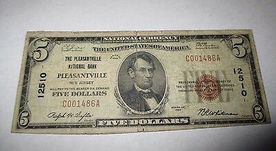 $5 1929 Pleasantville New Jersey NJ National Currency Bank Note Bill #12510 RARE
