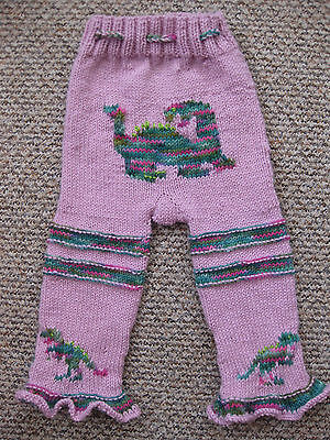 Pure wool knitted longies trousers , nappy diaper cover Dinos