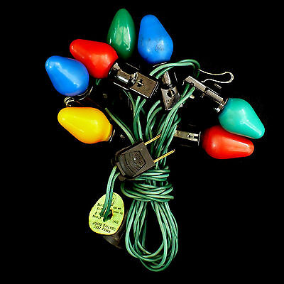 VINTAGE CHRISTMAS LIGHTS with METAL CLIPS / C7 BULB / SET OF 7 MULTI-COLORS