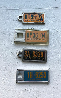 4 1951 - 1970 NY DAV Tags New York Key Chain Tags Mini License Plates Tag Plate