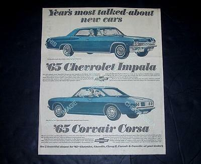 "1965 Chevrolet 15x18"" Intro Newspaper Ad IMPALA SPORT SEDAN Corvair CORSA Coupe"