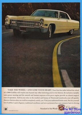 1966 Cadillac Fleetwood Yellow GM Classic Car Vintage Photo Ad