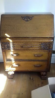Solid Oak Antique Writing Bureau