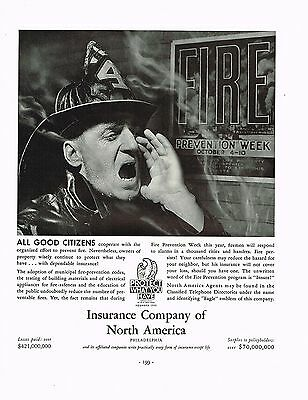1936 BIG Vintage Insurance Co. North America Fireman Firefighter Photo Print Ad