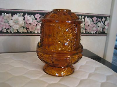 3 Pc. Amber Covered Fairy Lamp by Indiana Glass Star & Bars Candle Holder