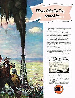 1936 BIG Vintage Gulf Oil Co. Spindle Top Texas Drilling Rig Art Print Ad
