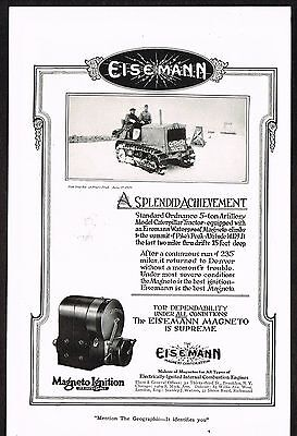 1920 Old Vintage Eisemann Magneto Ignition Caterpillar Tractor Photo Print Ad