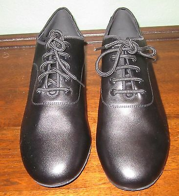 Men's VERY FINE Black Leather Ballroom Dance Shoes-Size Us 12/EU 46 NR!