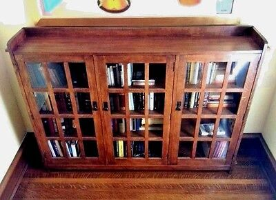 Arts & Crafts Mission Triple Bookcase w/ Glass Doors Stickley Audi & Co. reissue