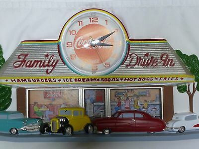 """VINTAGE COCA-COLA DRIVE-IN 50's/60'S CUSTOM CAR CLOCK  MADE IN 1988 """"USA"""""""