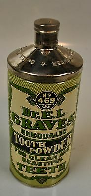 VINTAGE 1935 DR. E.L. GRAVES TOOTH POWER TIN  No.469