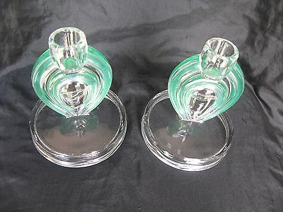 "Gorgeous Vintage Glass ""Art Deco"" Candle Sticks Clear/green"