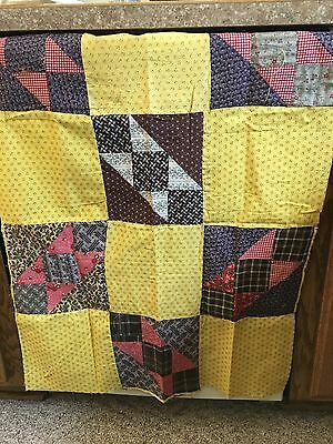 Moprimitivepast Stunning Early Pennsylvania Quilt Top Crib Mustard Yellow Calico