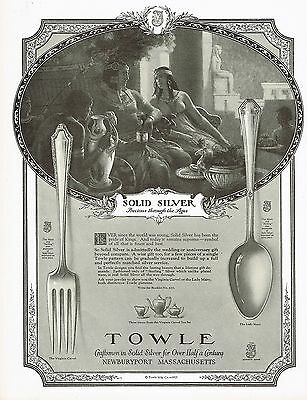 1920's BIG Old Vintage Towle Silver Silverwear Egyptian Theme Art Deco Print Ad