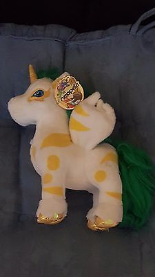 Neopet Island UNI UNICORN 2007 with Tag White, Yellow, Green Plush