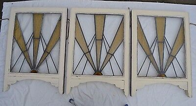 3 art deco gold leaded light stained glass windows. R511a. WORLDWIDE DELIVERY!