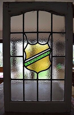 Shield leaded light stained glass window. R508. WORLDWIDE DELIVERY!!!