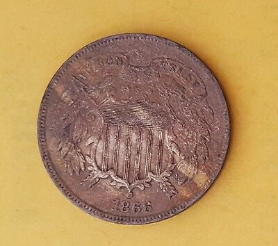 1866 US 2 Cent Coin ***