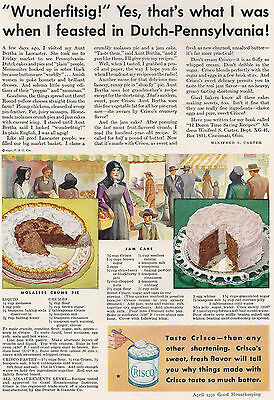 1931 Ad Crisco Pennsylvania Dutch Amish People Lancaster Friday Market Recipes