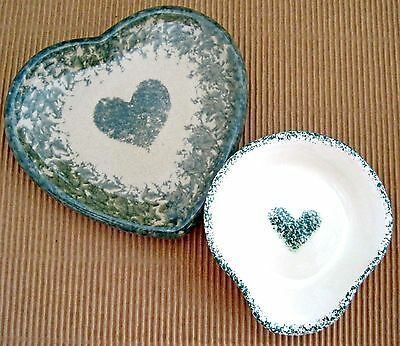2 Heart Theme Stoneware Plates Handpainted Green White Beige Spoon Rest Country