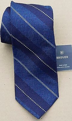 Breuer - Men's Tie, Regular Length, 100% Silk, Made in Italy, New w/Tag, Navy