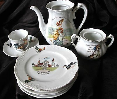 """antique child's teaset """"House that Jack Built"""" made in Germany, some pieces only"""
