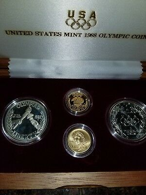 1988 Olympic Commemorative 4 Coin Set $5 Gold & Silver $1 Dollar