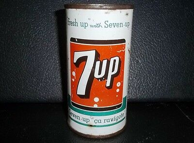 """1965 RARE FLAT TOP FOREIGN Vintage 7-UP Soda Can """" Fresh up with Seven-Up """" Old"""