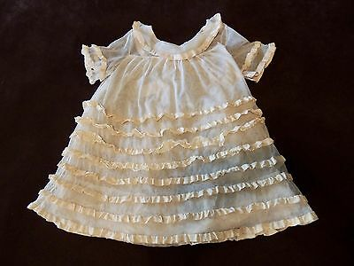 Antique Victorian Baby Or Doll Christening Gown Dress Sheer With Ribbon Trim
