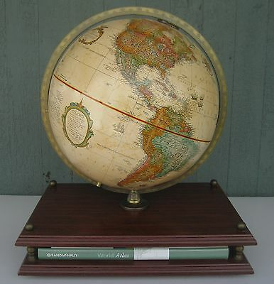 "Vtg 2007 Replogle World Classic Raised Relief 12"" Globe w/ Stand & Atlas MINT!"