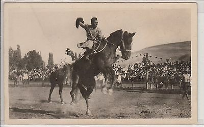 RPPC - Rodeo Scene - early 1900s - Indian Man on Bucking Bronco