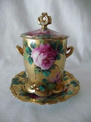 CONDENSED MILK CONTAINER Hand Painted Porcelain  HEAVY GOLD PAINT WITH ROSES
