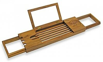 Expandable Adjustable Luxurious Teak Bathtub Caddy Tray Wine Drink Book  Holder