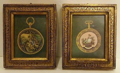 Vintage Pair Small Gold Gilt Florentine Wood Framed Silk Prints Made in Italy