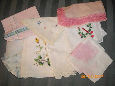 Lot of 8 Vintage Hankies or Handkerchiefs Embroidered Yellow Flowers & More