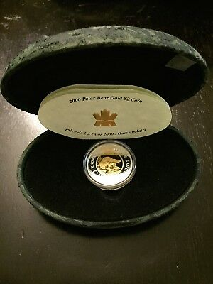2000 $2 Canada Polar Bear Proof 22k Gold Center with Silver Outer Ring w/ COA