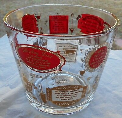 Retro Glass Ice Bucket w/ Cocktail Drink Recipes in Red Gold & White & Ice Tongs