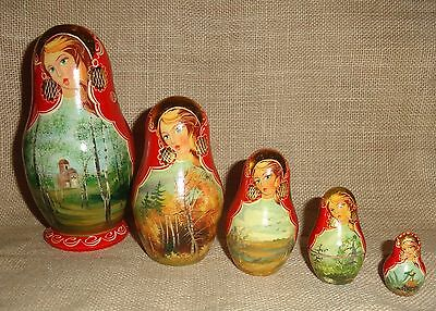 SET OF 5 Wood NESTING DOLLS Red, Handpainted w/ Gilded Gold Highlights DECOR
