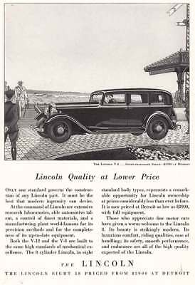 1932 Lincoln V-8: Lincoln Quality at Lower Price (4453) Print Ad