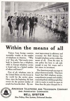 1925 American Telephone: Within the Means Of All (10604) Print Ad