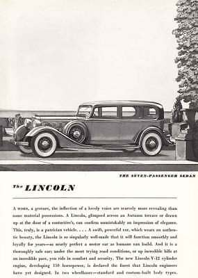 1934 Lincoln Seven-Passenger Sedan: A Word A Jesture (8696) Print Ad